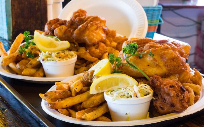 Flo's Clam Shack, seafood, restaurant, Rhode Island, fish and chips, fish, clam cakes, french fries, cole slaw